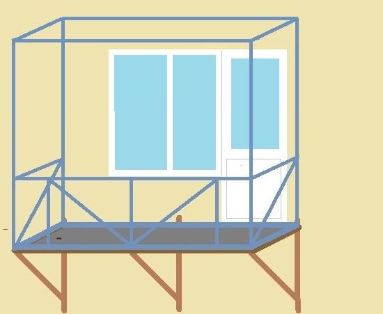фото: каркас подвесного балкона