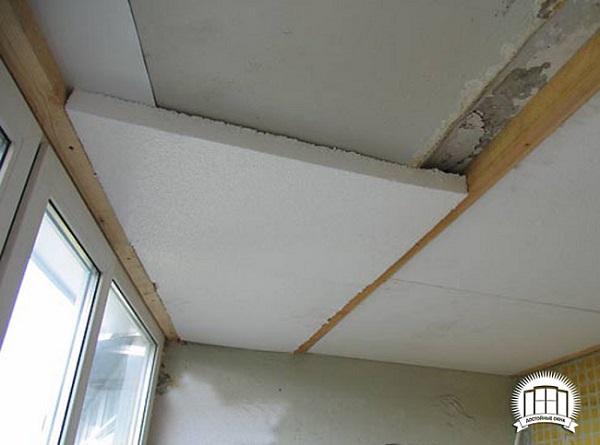 крепление пенопласта на потолок