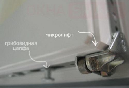 микролифт штульпового окна фирмы siegenia