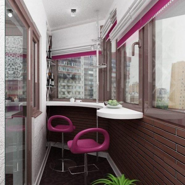 фото: изогнутая барная стойка на балкон