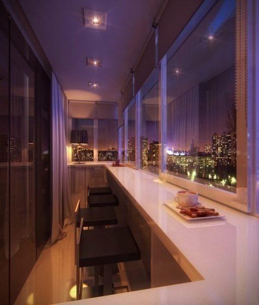 фото: барная стойка из подоконника на балкон