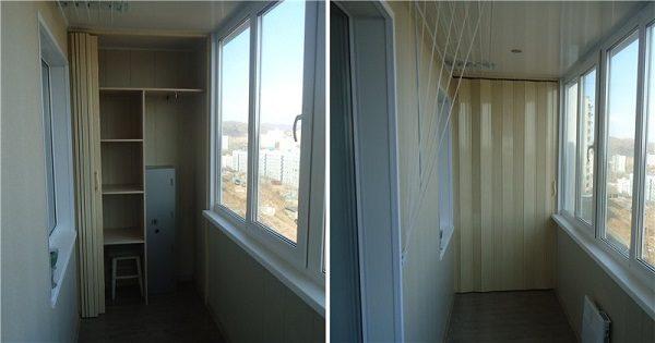 фото: двери гармошка на шкаф на балконе