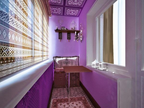 фото: фиолетовый цвет и интерьера балкона и лоджии