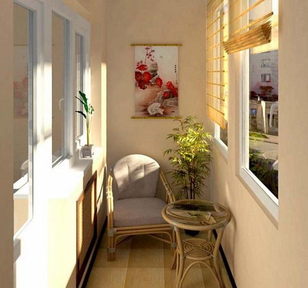 бежевый кремовый цвет в интерьере балкона и лоджии
