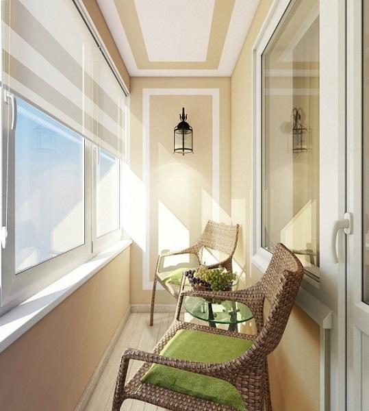 фото: пастельный цвет в дизайне балкона