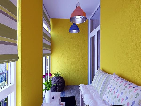 Балкон интерьер желтый