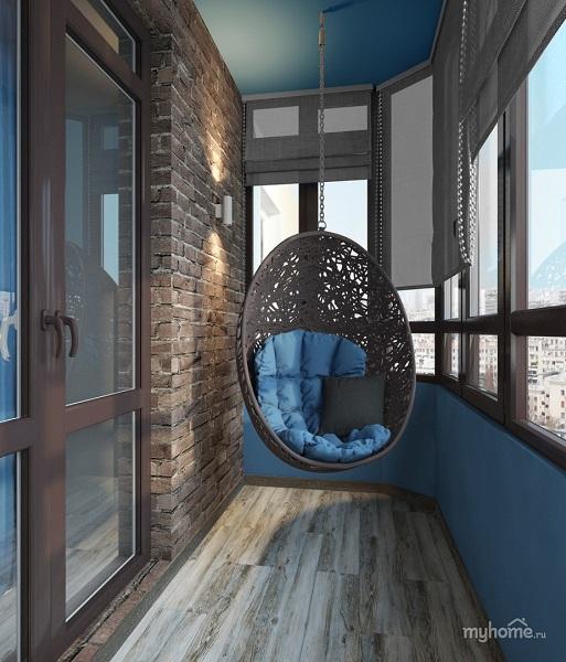 фото: зона отдыха на балконе в стиле лофт