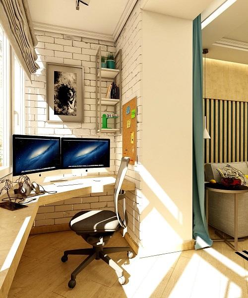 рабочий кабинет на балконе в стиле лофт