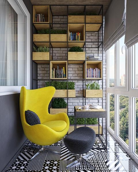фото: лофт балкон яркая мебель