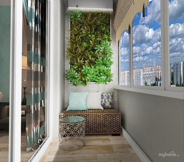 плетеная мебель на балконе с зимним садом