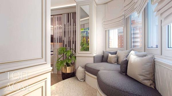 фото: диван на совмещенной гостиной с балконом