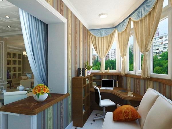 совмещенный балкона с комнатой в классическом стиле