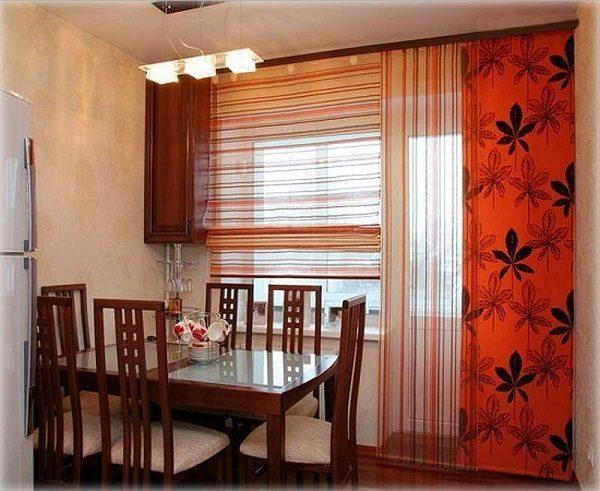 японские шторы на кухню в стиле хайтек