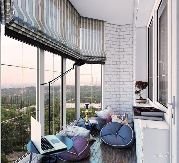 римские шторы на панорамный балкон