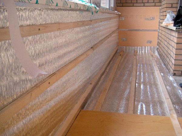 обрешетка поверх пенофола на балкон