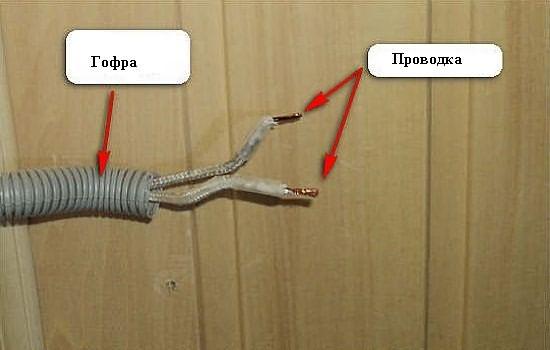 кабель в гофре к сауне