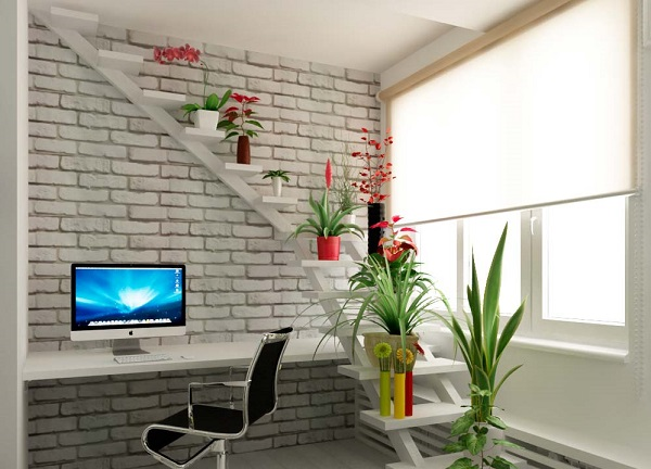 оригинальные полки в виде лестницы для цветов