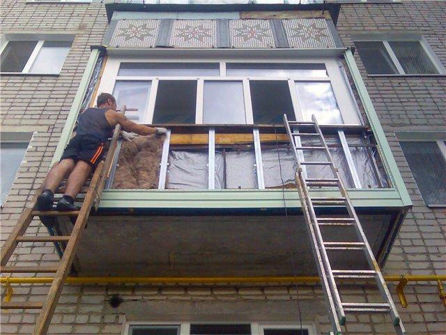 наружное утепление балкона минватой