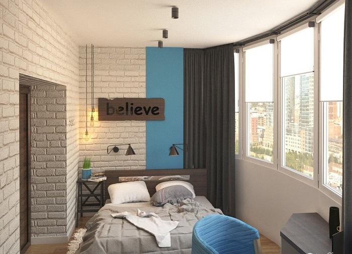 спальня на просторной лоджии