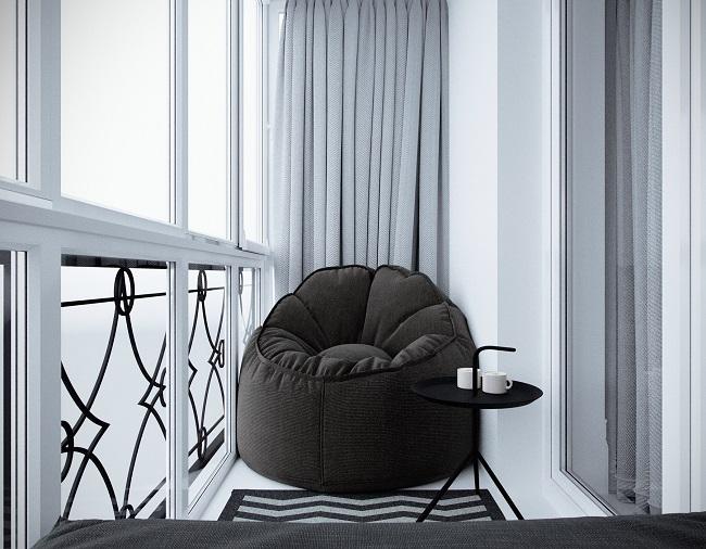 мягкое кресло без подлокотников на балкон