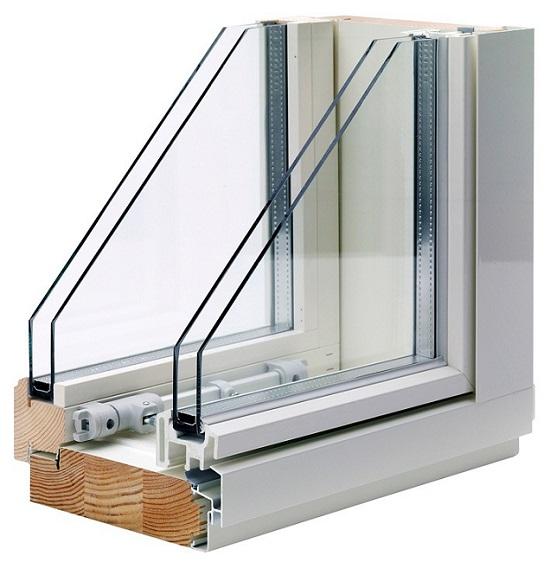 спаренное окно с одинарными стеклопакетами