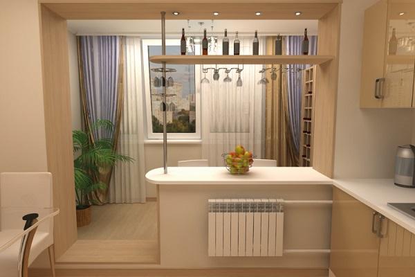 фото: барная стойка на кухне с балконом