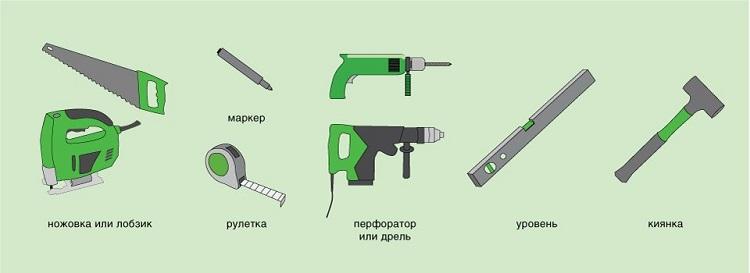 киянка, ножовка, строительный уровень, шпатель