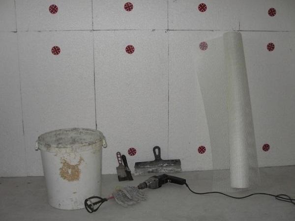 крепление пенопласта к стенам внутри помещения рядами