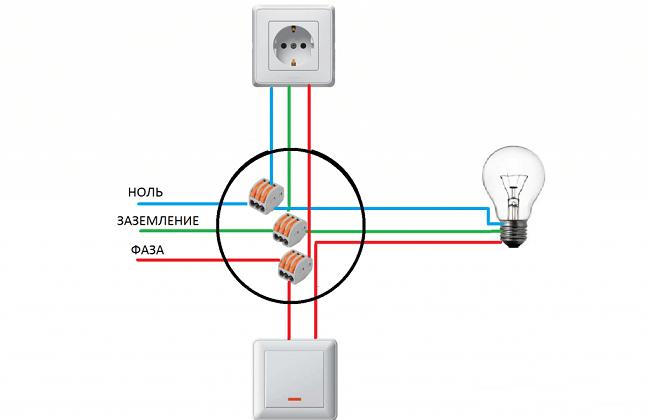 схема подключения розеток и выключателей на балконе