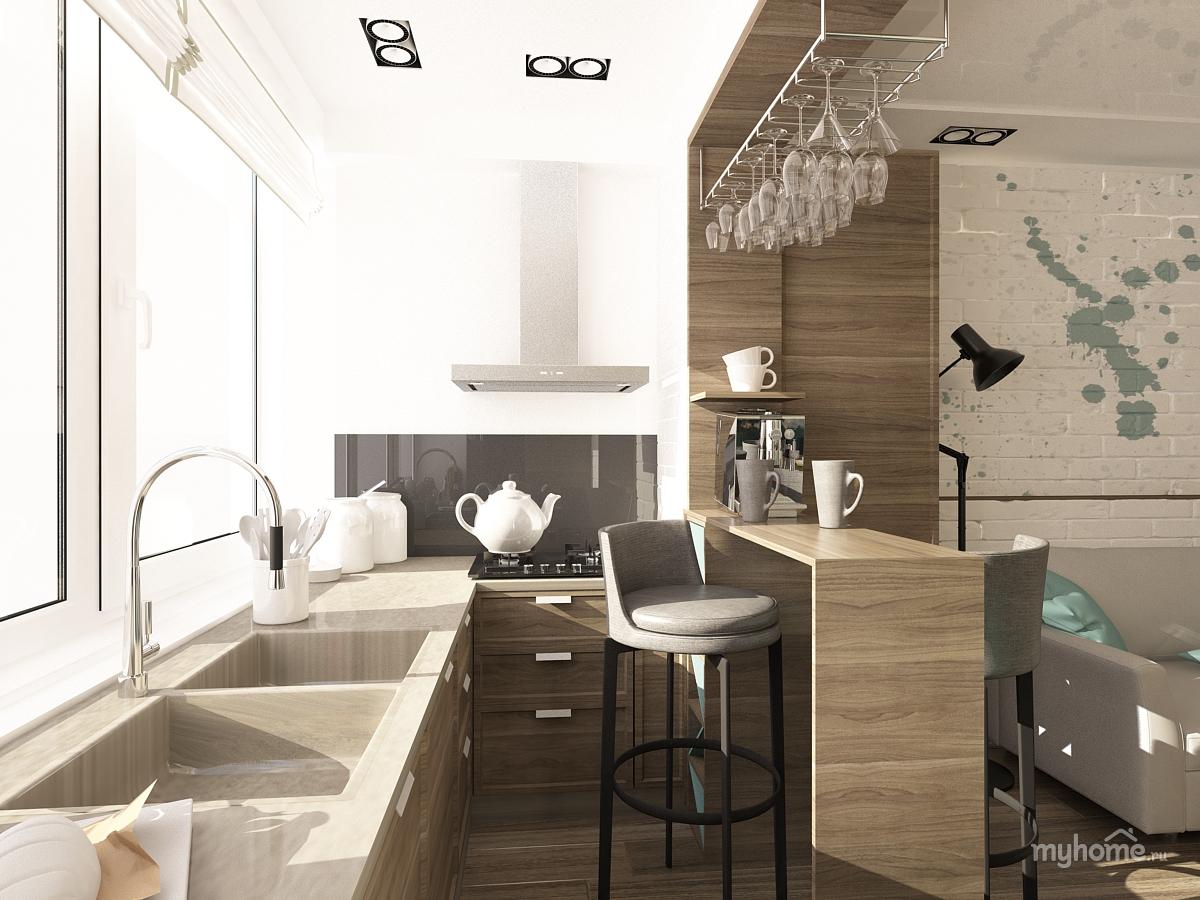интерьер маленькой кухни с балконом