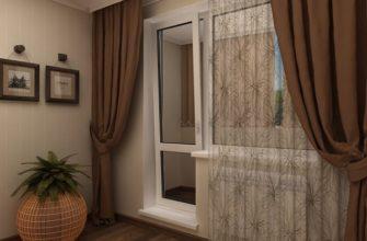 фото: шторы на окно с балконной дверью