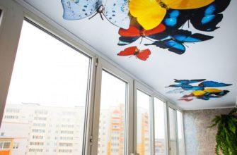 фото: Натяжной потолок на балконе