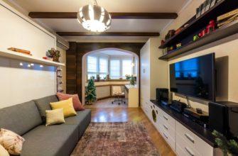 фото: интерьер комнаты с балконом