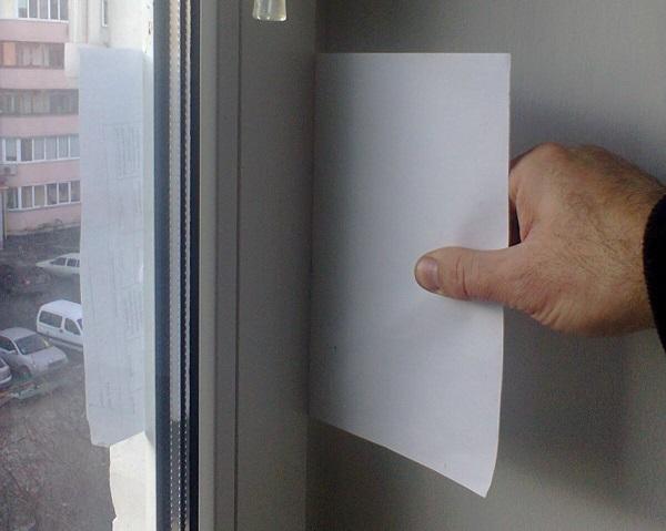 проверка прижима окна бумагой