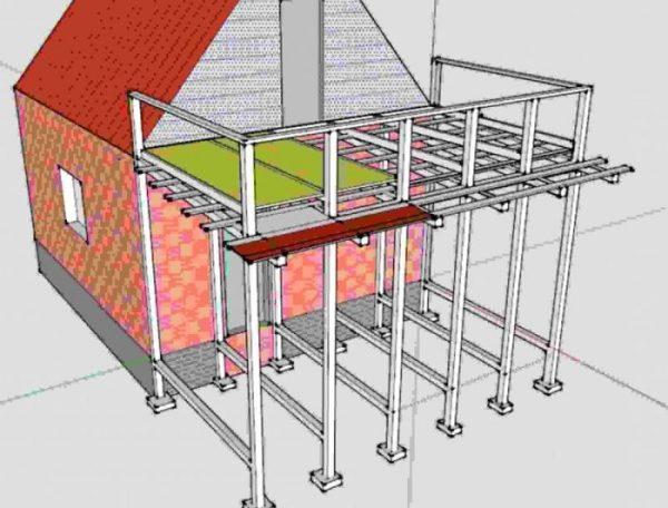 проект приставного балкона к дому