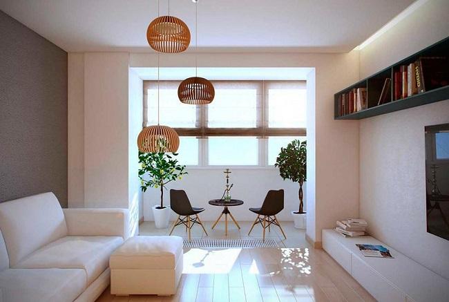 лаунж зона на балконе с гостиной