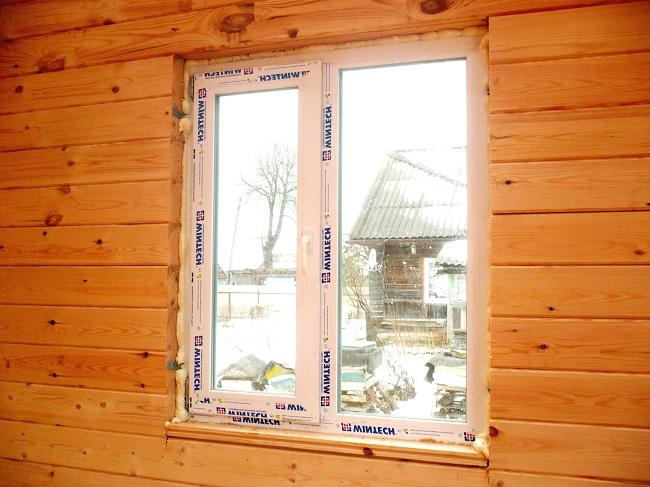 крепление пластиковых окон в деревянном дом