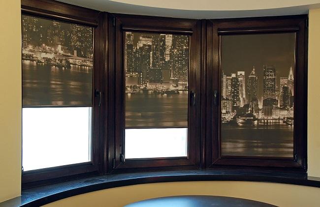 темные окна с рулонными шторами с рисунком