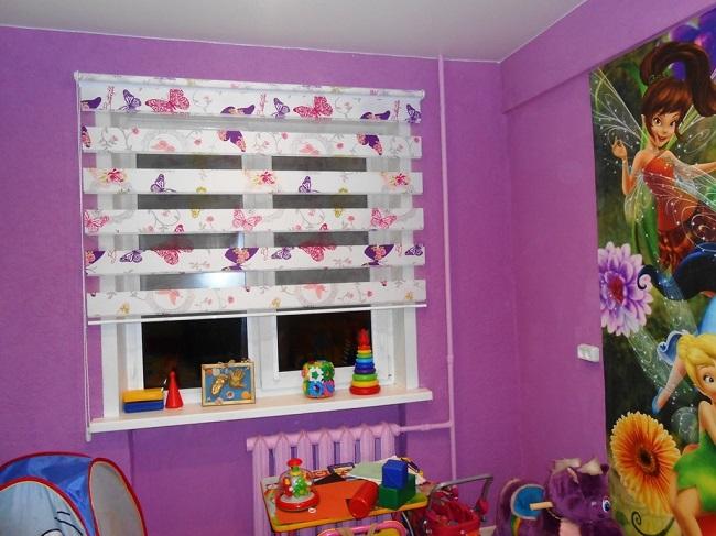 рулонные шторы день ночь в детской
