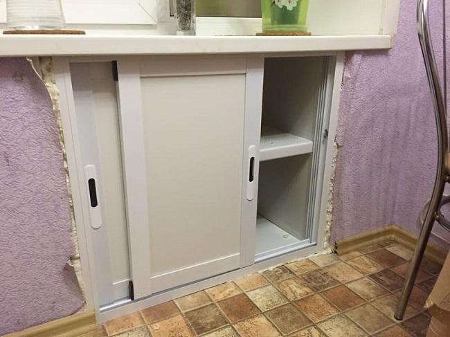 раздвижные алюминиевые дверцы на хрущевский холодильник