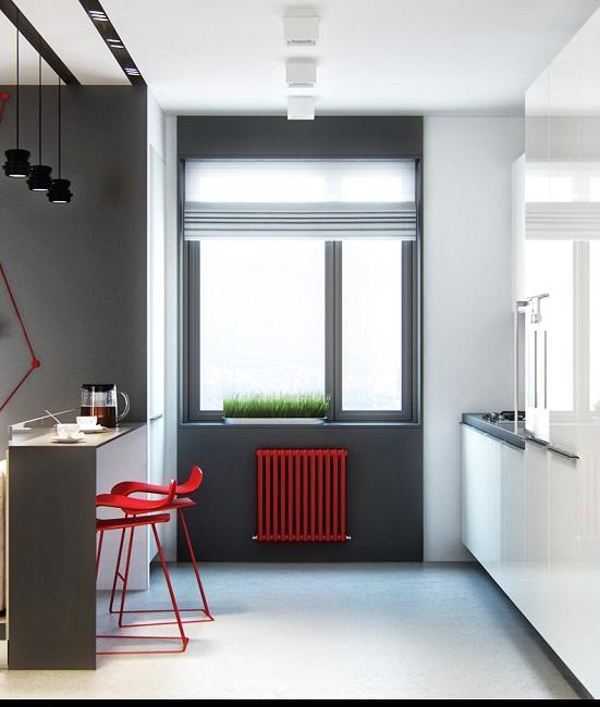 черные окна с красным в интерьере квартиры
