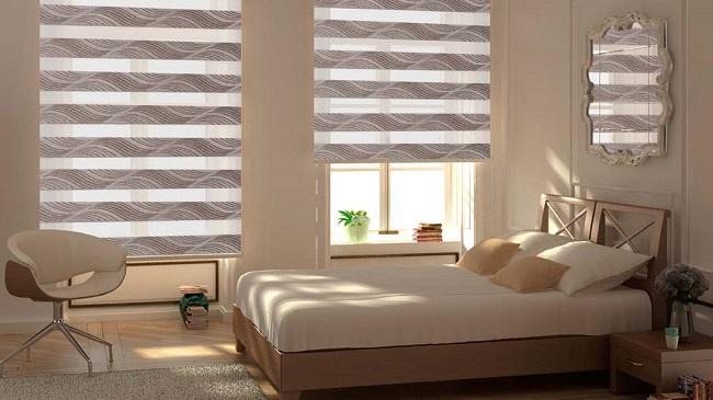 рулонные шторы день ночь в интерьере спальни