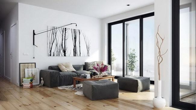 интерьер квартиры в стиле хай тек с черными окнами
