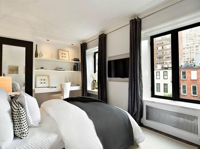 черные окна в интерьере спальни
