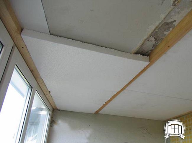 утепление потолка балкона пенопластом