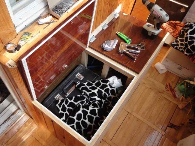 ящик скамейка с двумя независимыми крышками