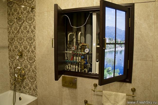 фальш окно с подсветкой в ванной