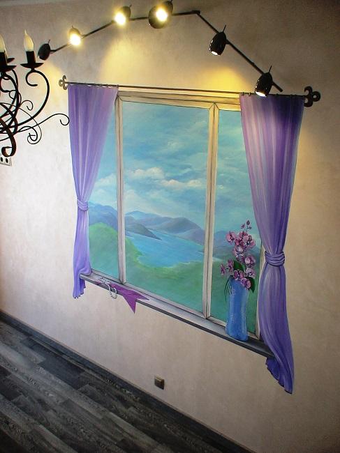 нарисованное окно со шторами