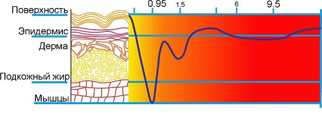 проникновение инфракрасных лучей в тело человека