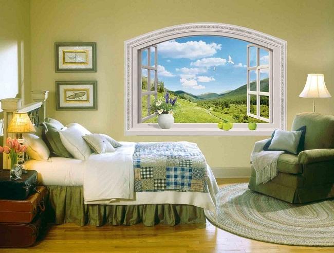 имитация окон в интерьере спальни